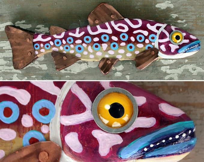 """Aria, 14"""" Trout Minnow, Fun Hand-Painted Wood Fish Wall Art, Copper Fins, Colorful Folk Art, Made in Vermont, Fish Sculpture, Unique Gift"""