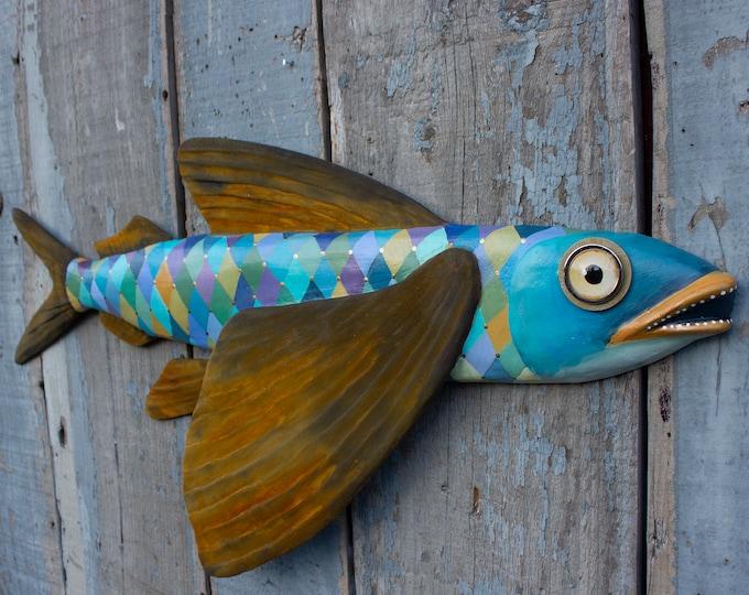"Flying Fish Folk Art Wall Sculpture, Marlen 30"""