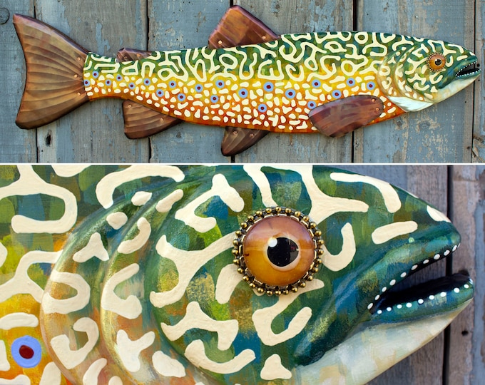 Large Brook Trout Colorful Fish Wall Sculpture 37""