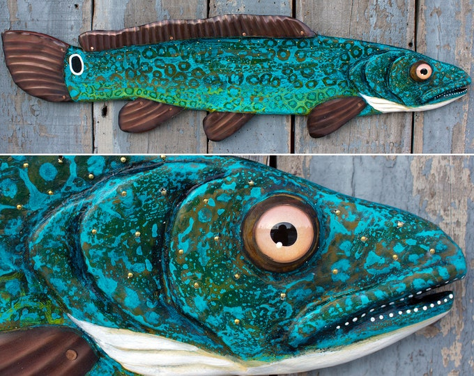 "37""Bowfin! Wood and Metal Fish Wall Art"