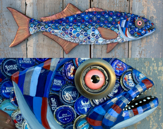 Blue Fish Wall Sculpture Bottle cap Art 37""