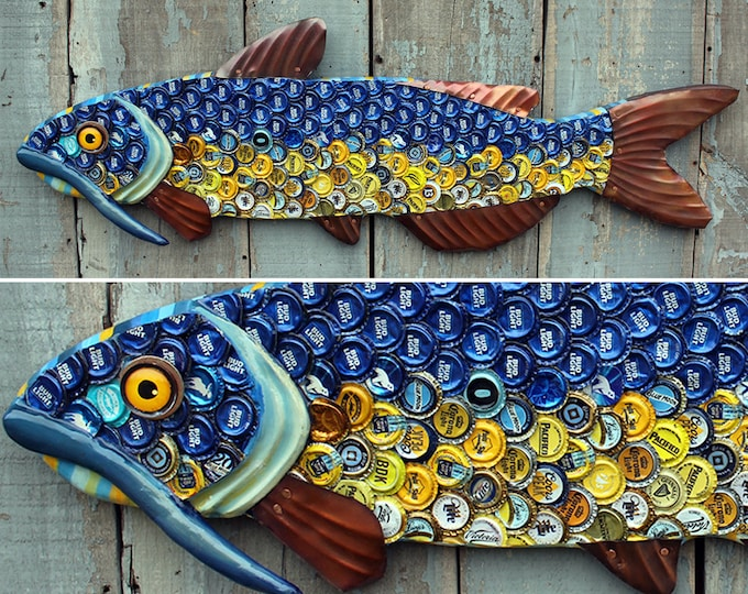 "40"" Bottlecap Catfish, Large fish wall art, Bar Art, wood fish sculpture, handcrafted in Vermont, unique gift, Recycled Art , Bottlecap Art"