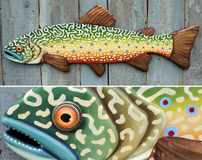 Large Brook Trout Wood and Metal Wall Art 37""