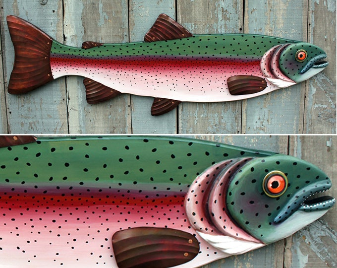 "47"" Rainbow Trout, Large Fish wall art, Lodge decor, wood fish sculpture, colorful folk art fish, handcrafted in Vermont, unique gift wood"