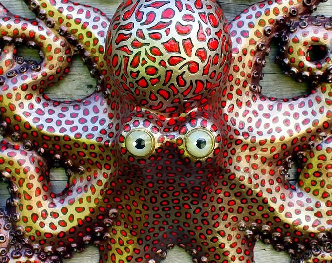 """Octopus Wall Sculpture Folk Art 20"""""""
