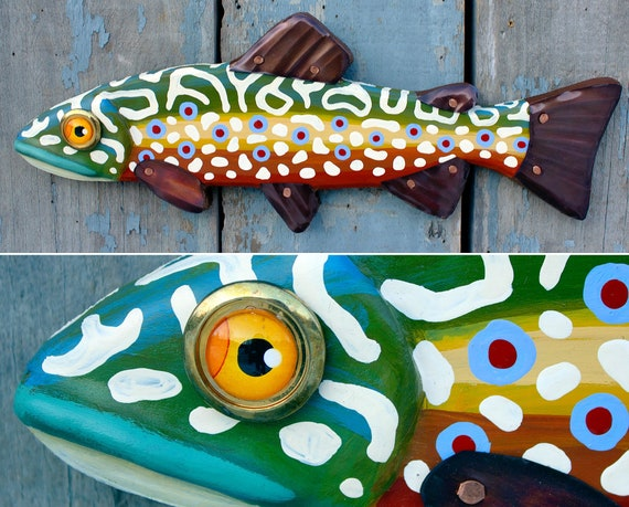 "Marshall, 16"" Brook Trout, Carved Folk Art Fish Wall Art"