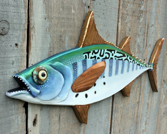 "False Albacore, Folk Art Fish Wall Sculpture 34"""