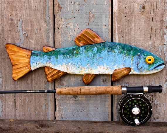 """16"""" Encaustic Trout Wall Sculpture, Abstract Textured Pattern with Deep Blue Colors."""