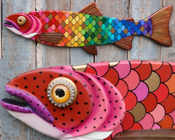 """Althea, 47"""" Large Rainbow Trout, Colorful Folk Art Wood and Copper, Folk Art Fish Wall Art, Pride"""