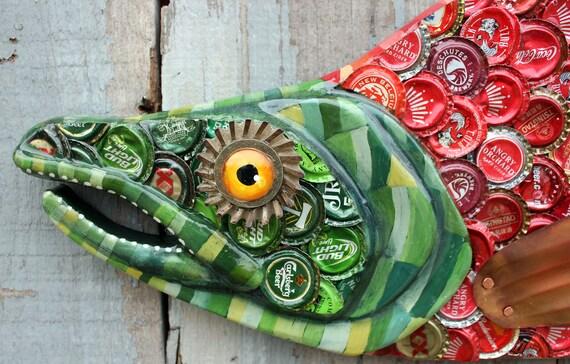 "38"" Sockeye Salmon Bottle Cap Art - Metal Fish Wall Art"