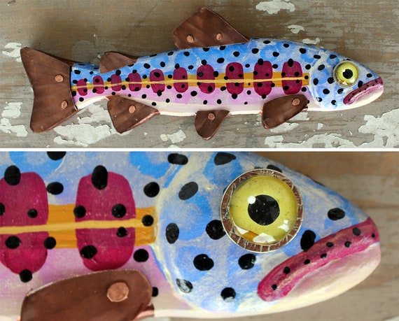 "Zelda, 12"" Trout Minnow, Fun Hand-Painted Wood Fish Wall Art, Copper Fins, Colorful Folk Art, Made in Vermont, Fish Sculpture, Unique Gift"