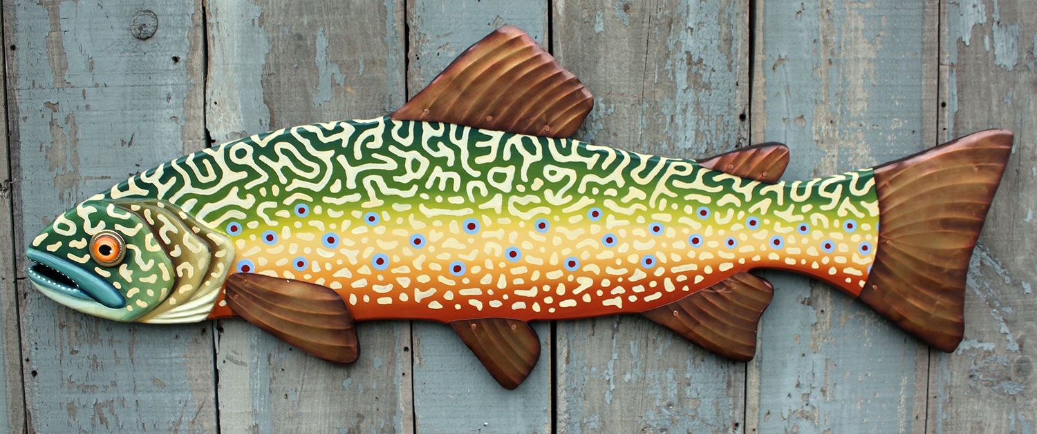 37 Brook Trout, Large Fish wall art, Lodge decor, wood trout ...