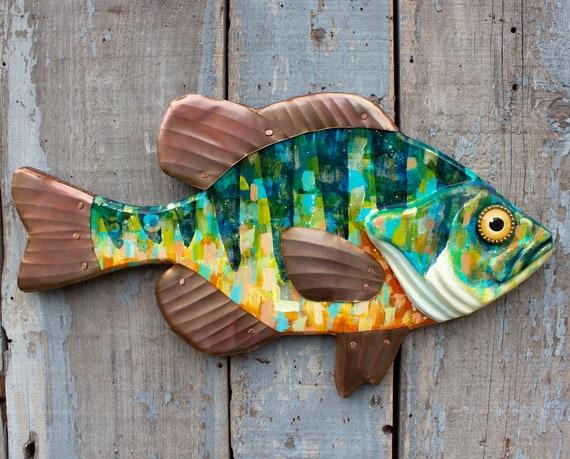"Colorful Sunfish Folk Art Fish Wall Art 21"""