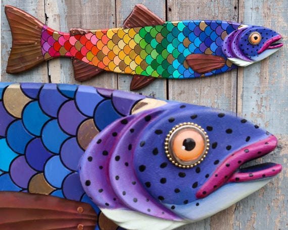 """GiGi, 37"""" Colorful Rainbow Trout, Whimsical Folk Art Fish Wall Sculpture, Original Hand-painted Wood And Copper Sculpture, LGBT Pride"""