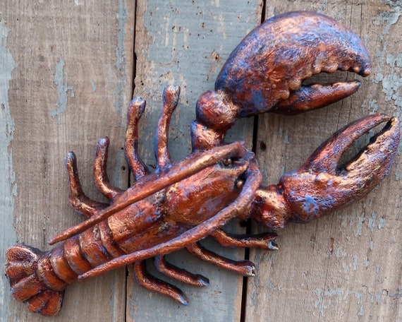 Leroy, Encaustic Lobster Folk Art, Hand painted Beeswax on Wood and Clay Wall Sculpture, Funky Folk Art, Coastal Decor