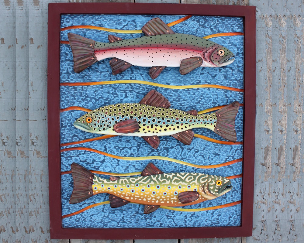 Trio of Trout 25x 30 Framed Trout Wall Art, Colorful Folk Art Fish ...