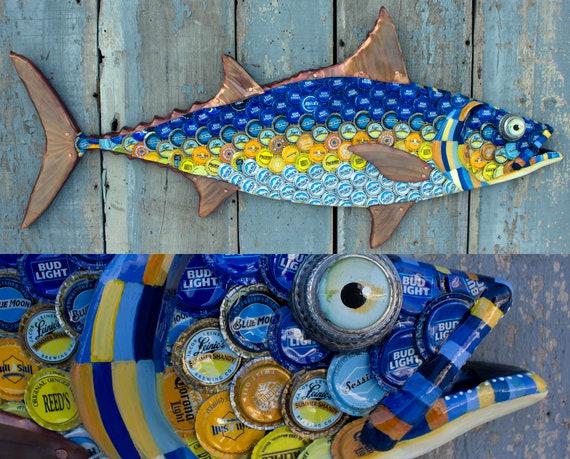 "Tuna Large Fish Wall Sculpture Bottlecap Art 39"""