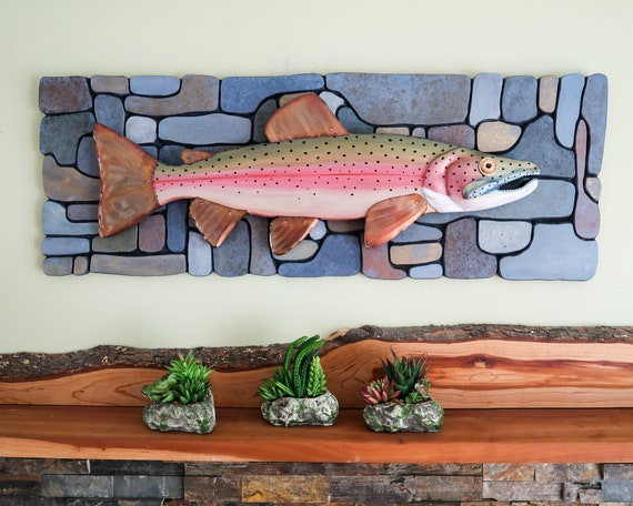 Steelhead Trout Wall Sculpture on Hand-Painted Carved Rock Pattern Background