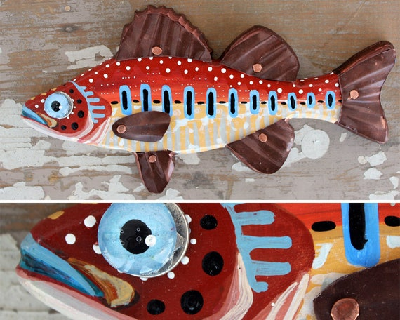 "Winston, 11"" Carved Wood Perch, wood and copper fish magnet or wall art, colorful folk art, made in Vermont, fish sculpture, unique gift"