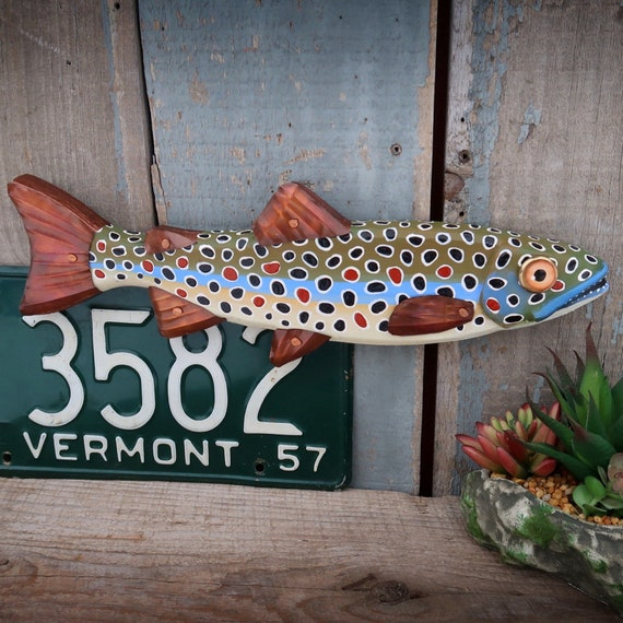 Jackson, Brown Trout Fish Wall Sculpture, Original Wood and Copper Folk Art Fish Art, Made in Vermont, Lake and Lodge Decor, Minnow
