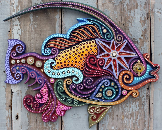 "30"" Tropical Angel Fish Wall Art: Carved Fish Sculpture - Colorful Fish Art"