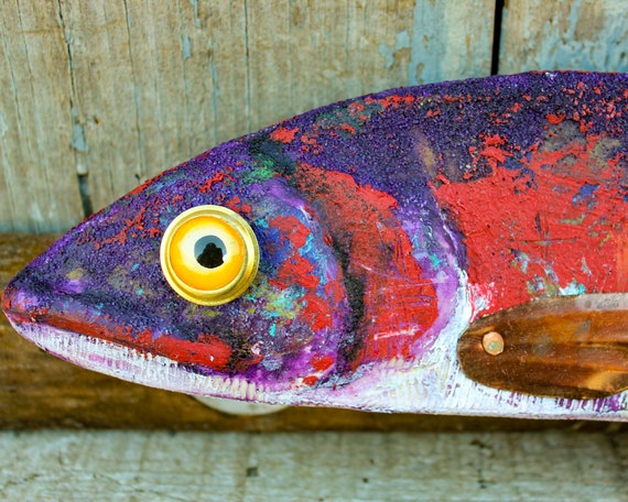 "18"" Hand Painted Wood Trout Freshwater Fish Art Encaustic Beeswax Paint Fish Wall Art Gift Blue, Red and White Trout Fish Wall Decor"