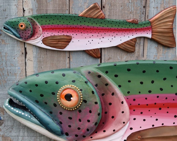 """Randy, Original Rainbow Trout Folk Art Fish Wall Art 37"""", Hand Painted Wood and Copper Sculpture, Made in Vermont, Lake and Lodge Decor"""