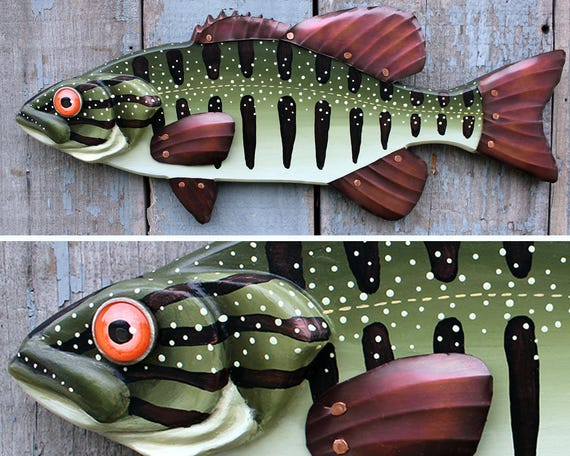 """Bass Wood and Copper Fish Wall Art, 21"""""""