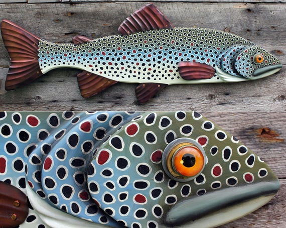 Large Brown Trout Fish Wall Sculpture 39""