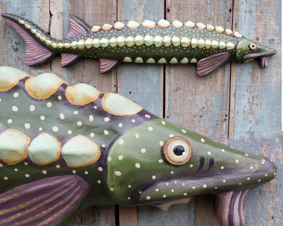 Viggo, Large Sturgeon Folk Art Fish Wall Art, Original Hand-painted Wood and Clay Sculpture, Lake and Lodge Decor
