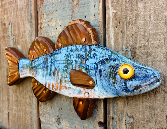 "14"" Encaustic Fish Wall Sculpture, Abstract Textured Pattern with Deep Blue Colors."