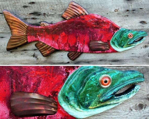 SOCKEYE SALMON | Folk Art Wall Sculpture | Large Fish Wall Art | Lake House Decor