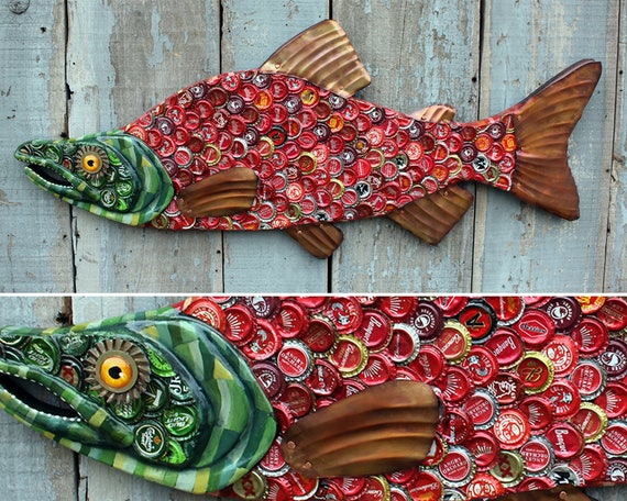 Bottle Cap Metal Fish Wall Art - Sockeye Salmon: Fish Wall Sculpture