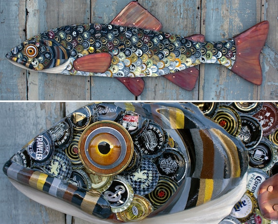 """39"""" Brown Trout Bottle Cap Art / Folk Art Trout Sculpture / Wood and Copper / Lake House Decor / Fly Fishing Fisherman Gift"""