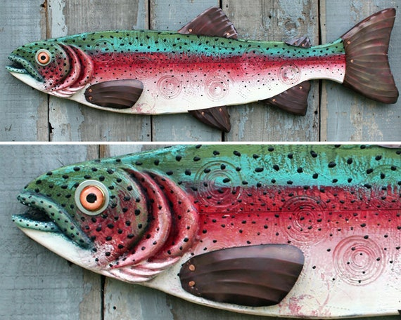 Rudy - Large Rainbow Trout Encaustic Fish Wall Art 38""