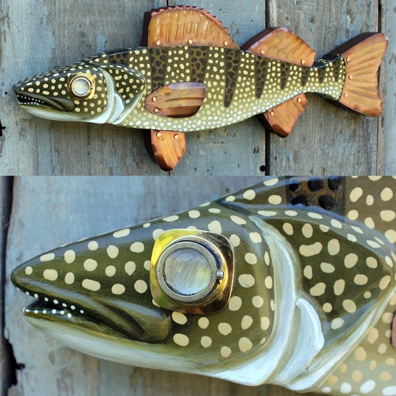 """33"""" Walleye Pike Fish Decor - Hand Painted Wood Carved Wall Sculpture - Perfect for Lake House Decor"""