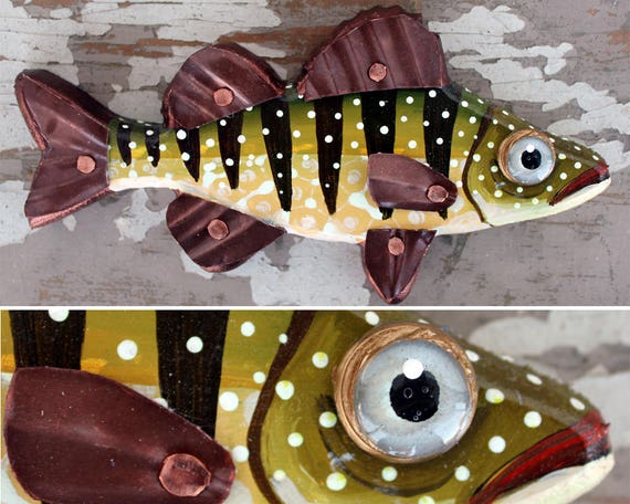 "Paulette, 8"" Carved Wood Perch, wood and copper fish magnet or wall art, colorful folk art, made in Vermont, fish sculpture, unique gift"