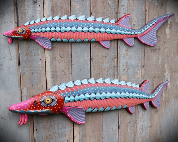 Spartacus, Huge Colorful Sturgeon Folk Art Fish Wall Art, Original Hand-Painted Wood & Clay Fish Sculpture,Pacific Northwest Inspired Decor