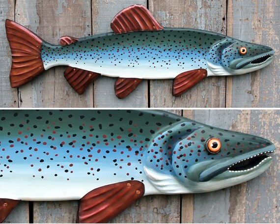 32 inch Salmon Fish Art / Lake House Decor / Folk Art Fish / Fisherman Gift / Fish Artwork with Copper Fins / Mountain House Decor