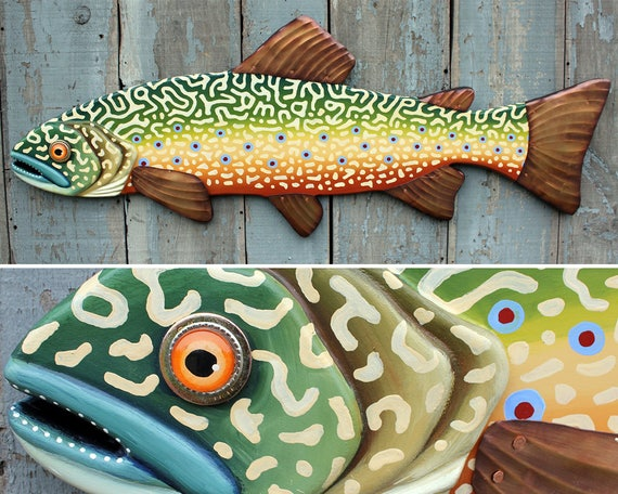 Large Brook Trout Colorful Fish Wall Sculpture 47""