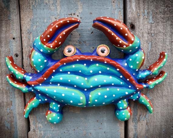 Carl, Colorful Crab Wall Sculpture, Original Hand painted Wood and Clay Folk Art, Fun Coastal Decor