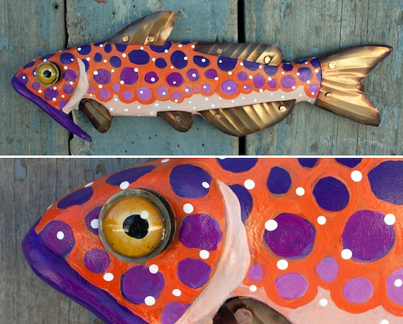 "14"" Cute Catfish, Hand Painted on Wood with Copper Fins and Glass Eye."