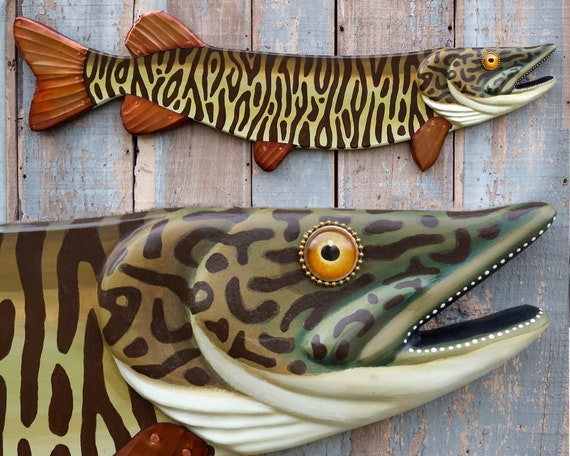 Melvin, Large Folk Art Fish Wall Art, Muskie Pike Folk Art, Original Hand-painted Wood and Copper Sculpture, Lake and Lodge Decor,Made in VT