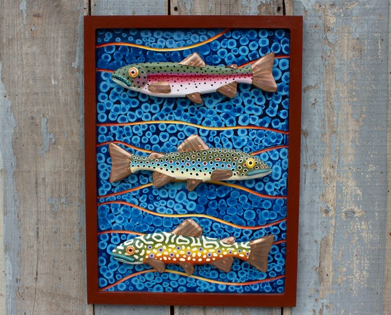 "30"" Trout Sculpture: Lake House Decor"