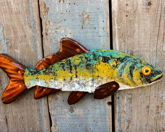 "16"" Encaustic Fish Wall Sculpture, Abstract Textured Pattern with Strong Deep Colors."