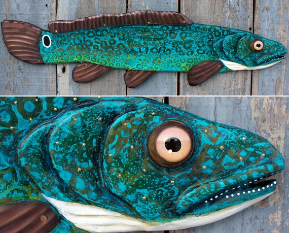 "Colorful Bowfin Fish l 37"" Folk Art Fish Wall Sculpture / Valentines Gift for Him"