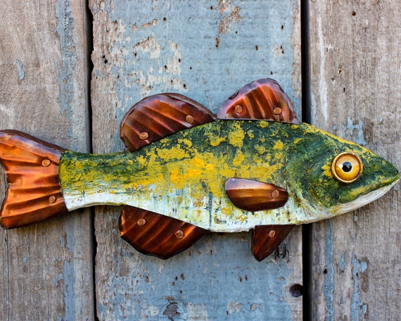 "12"" Trout Wall Sculpture, Metal Wall Sculpture, Yellow and Green Fish Sculpture"