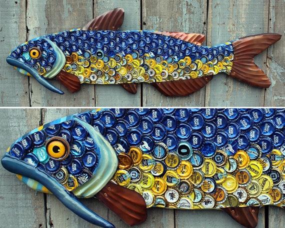 Large Catfish - Bottle Cap Metal Fish Wall Art