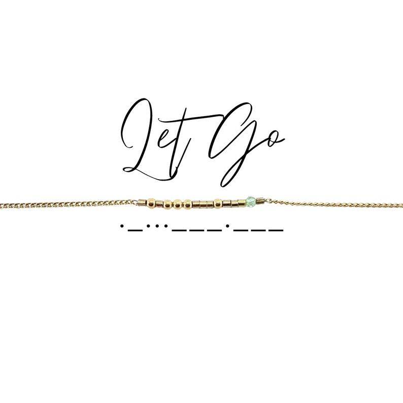 bridesmaids gift, birthday gift, peridot bracelet, wedding gift, yoga jewelry LET GO Morse Code Mantra\u00ae Bracelet