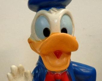 DONALD DUCK Bank, Vintage, Plastic Vinyl Figure, Walt Disney Productions,Play Pal Plastics, Animated Movie, Cartoon Character Child's Toy